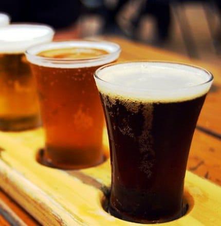 Flight of beer on Bend Breakaway tour