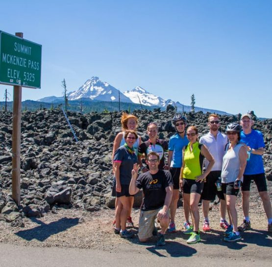 Group and sign on Bend Breakaway tour