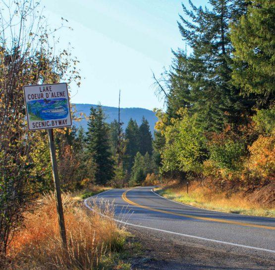 Road sign on International Selkirk Loop Bike Tour
