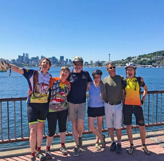 Group of bikers on Mountains to Sound Bike Tour