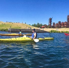 Kayakers on Mountains to Sound Bike Tour