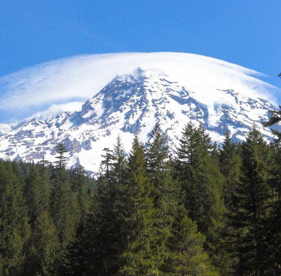 View of mountains on Mountains to Sound Bike Tour