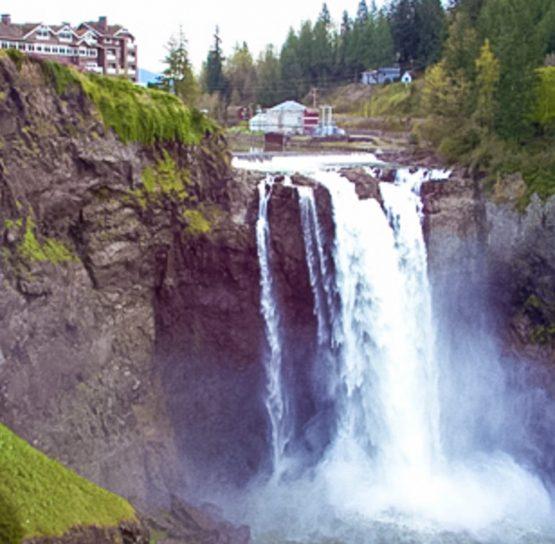Waterfall on Mountains to Sound Bike Tour