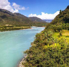 Aqua river on New Zealand Bike Tour