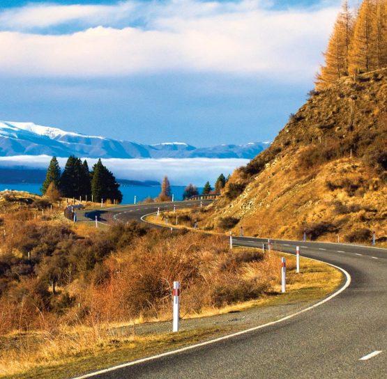 Windy road through mountains on New Zealand Bike Tour
