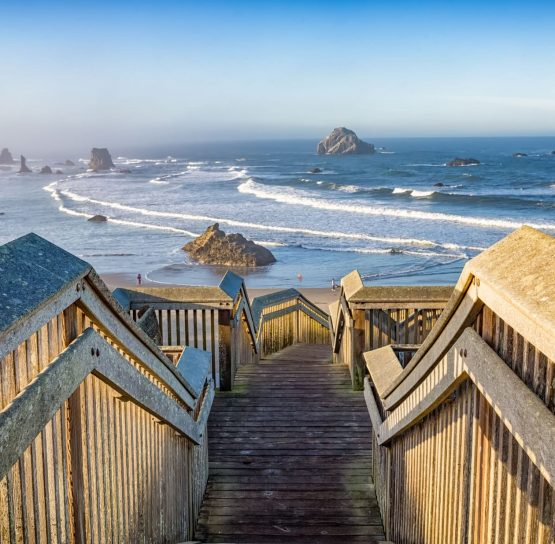 Stairs to beach on Oregon Coast to Crater Lake Bike Tour