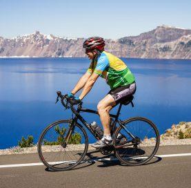 Biker on Oregon Coast to Crater Lake Bike Tour