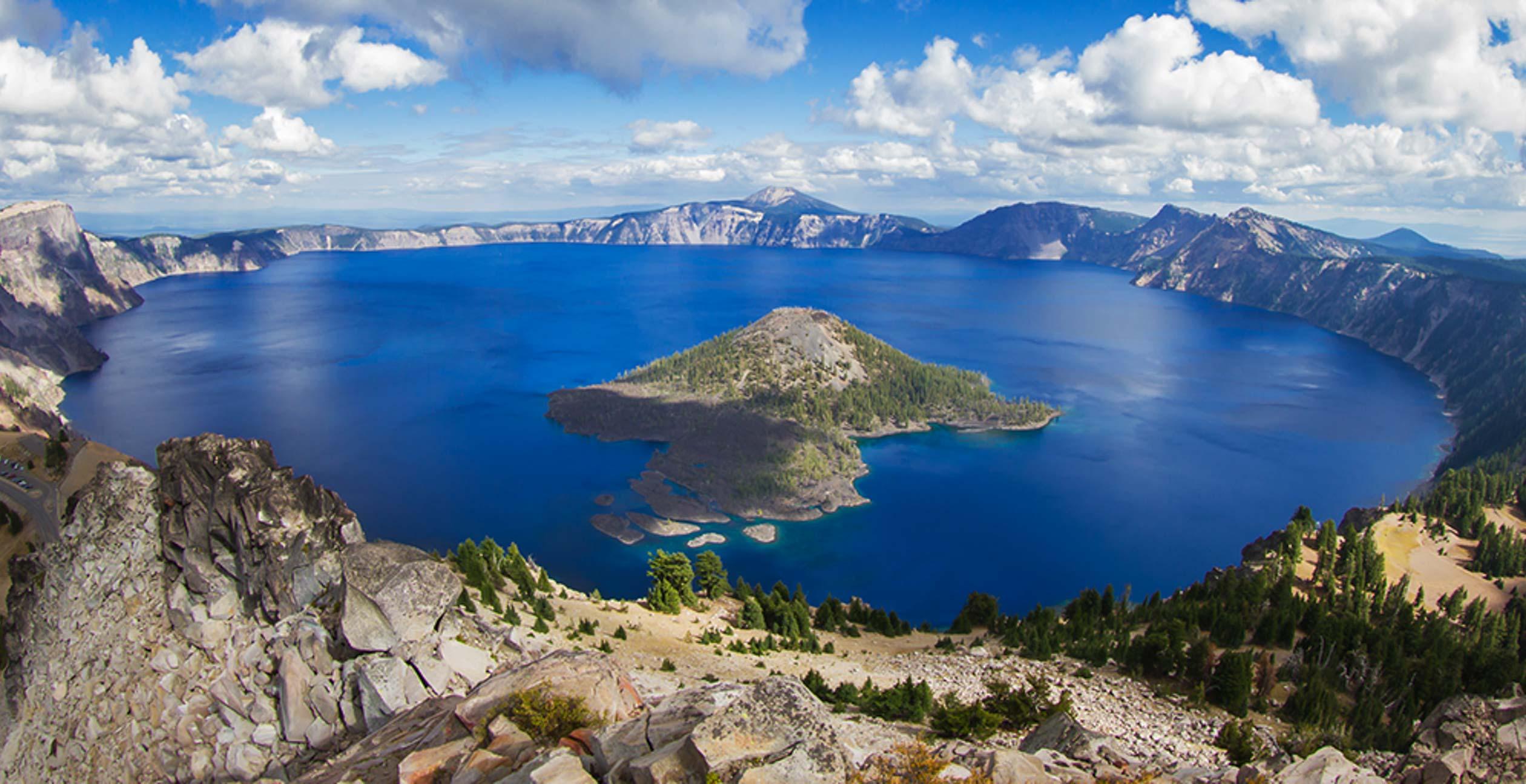 Crater lake, beautiful blue waters