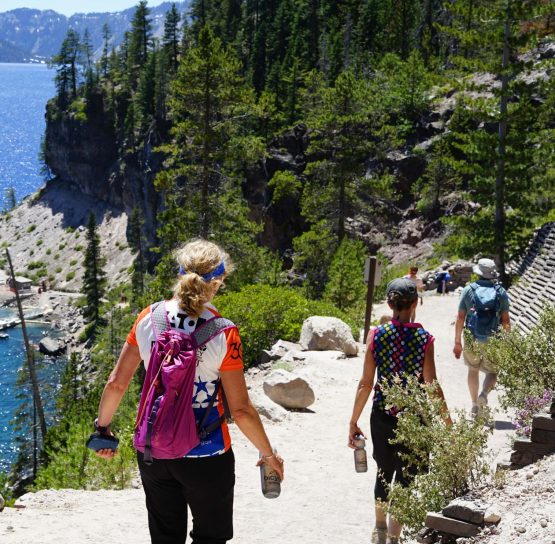 Hikers on Oregon Crater Lake Hiking Tour