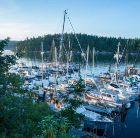 Boats by bay on the San Juan Islands – Victoria Bike Tour