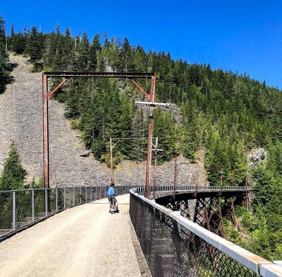 Biker on Trail of the Coeur d'Alenes tour