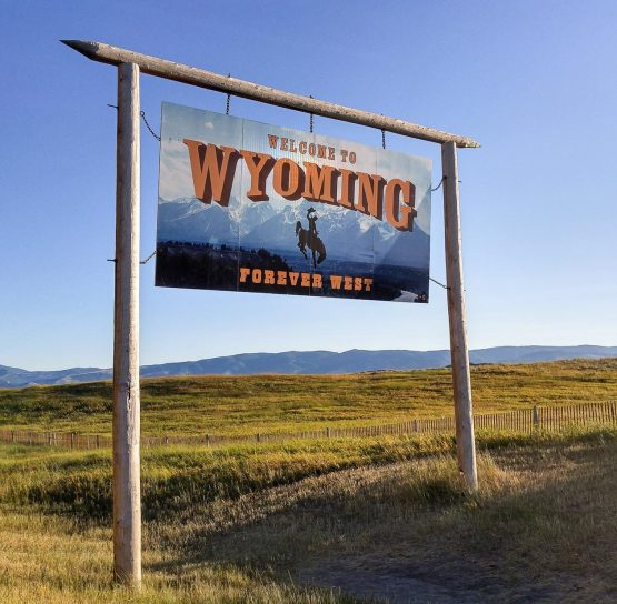 Sign on Wyoming Bike Tour