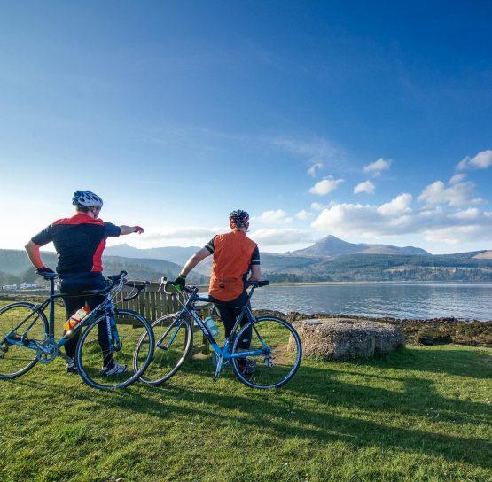 Admiring the lake on the Scotland's Isle of Arran tour