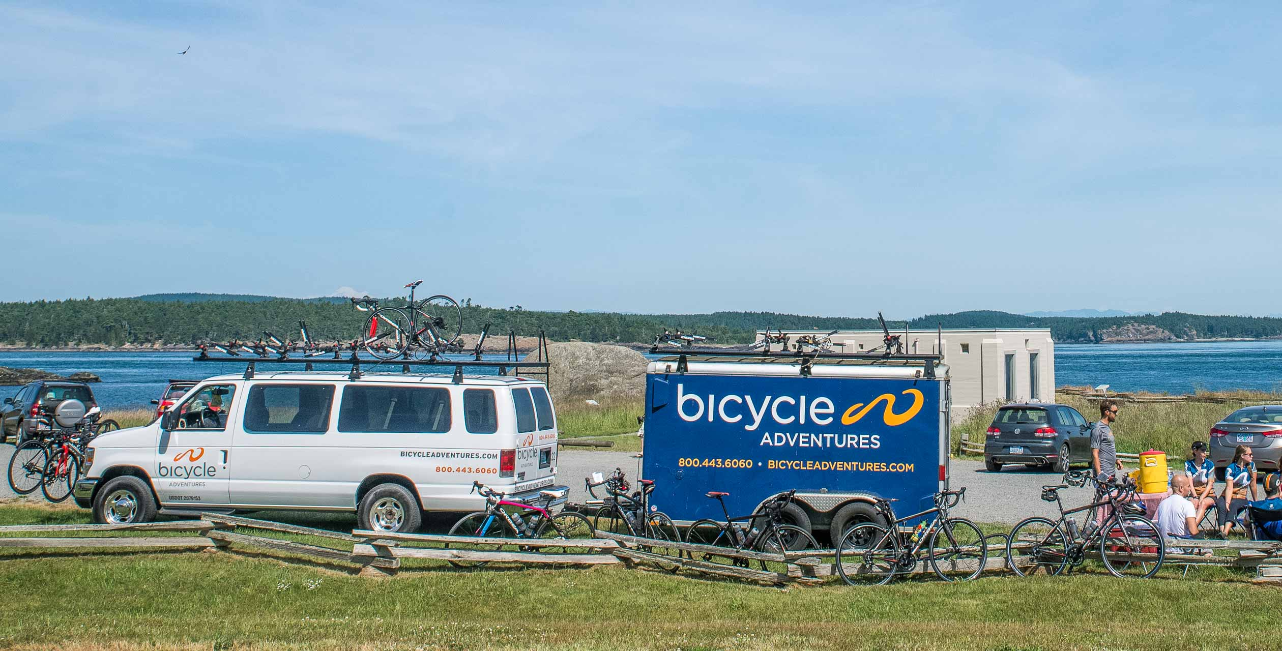 Bicycle Adventures van with bikes and trailer