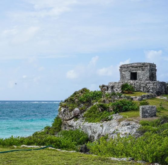 Building by coast on Mexico's Yucatan tour