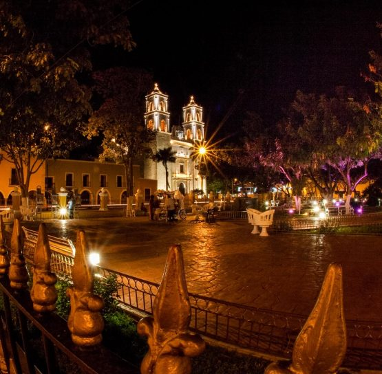 City at night on Mexico's Yucatan tour