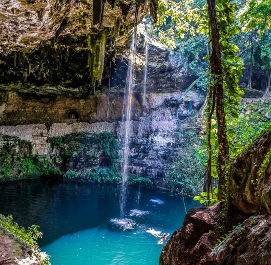 Waterhole and waterfall on Mexico's Yucatan tour
