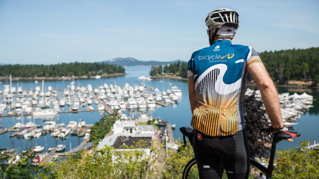 Biker admiring bay